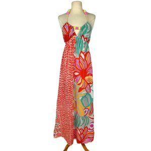 ITW Claude Brown Boho Floral Halter Maxi Dress 4